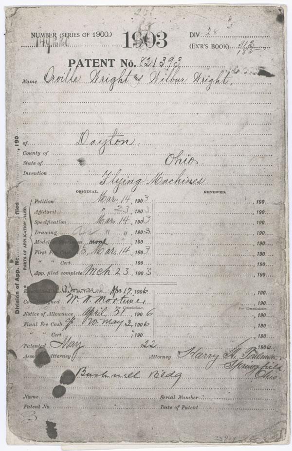 Een pagina van het patent. Afbeelding: The National Archives.