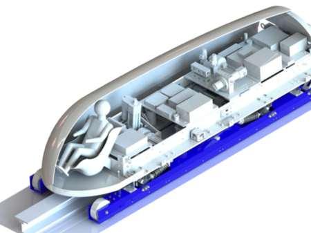 De pod van de studenten van MIT 'zweeft' dankzij magneten. Afbeelding: MIT Hyperloop.