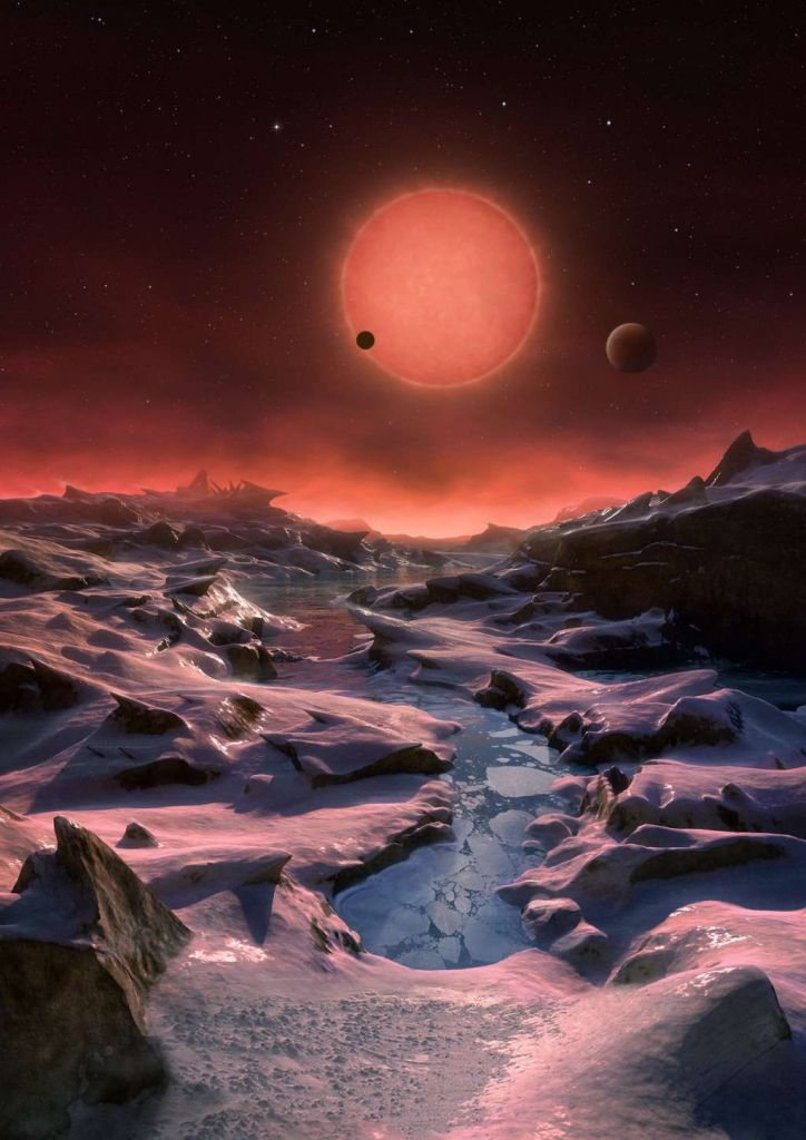 Een artistieke impressie laat de ultrakoele dwerg en twee van zijn planeten vanaf het oppervlak van de derde planeet zien. Afbeelding: ESO / M. Kornmesser.