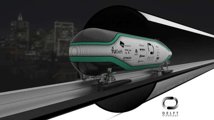 De capsule van studenten van de TU Delft. Ook deze Hyperloop-pod 'zweeft' dankzij magneten.