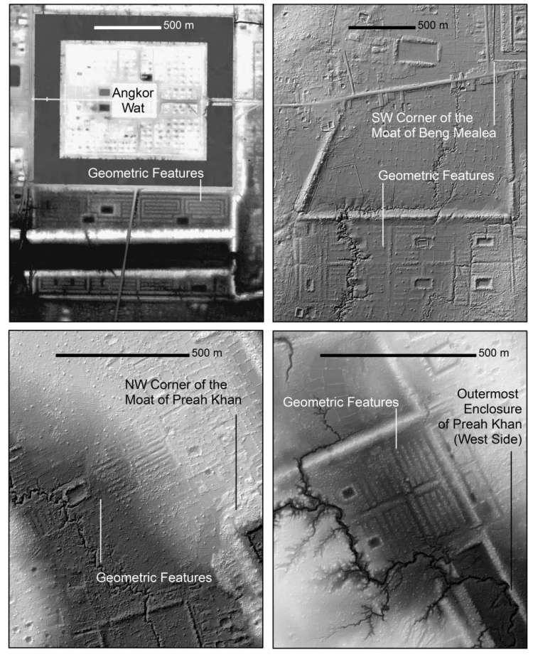 Hier zie je de spiraalvormige geometrische kenmerken die dankzij lasers in detail zijn blootgelegd in de jungle van Cambodja. Afbeelding: Damian Evans / Journal of Archaeological Science.