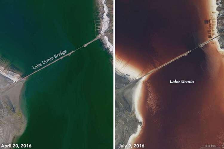 Ingezoomd op de brug die halverwege het meer is aangelegd. Afbeelding: NASA.