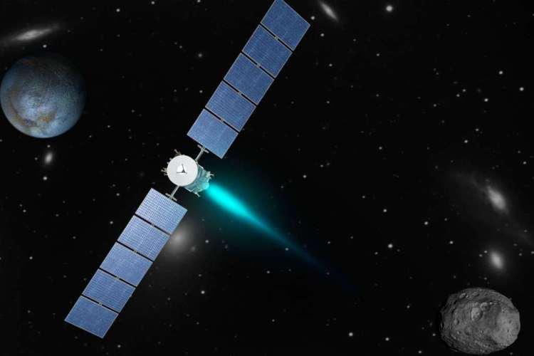 Een artistieke impressie van ruimtesonde Dawn. Afbeelding: NASA / JPL.
