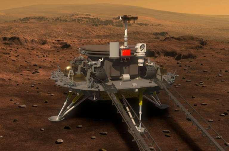 Hier zie je de Chinese Marslander en -rover op het oppervlak van Mars staan.