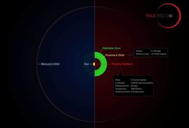 Ons zonnestelsel in vergelijking met Proxima Centauri.