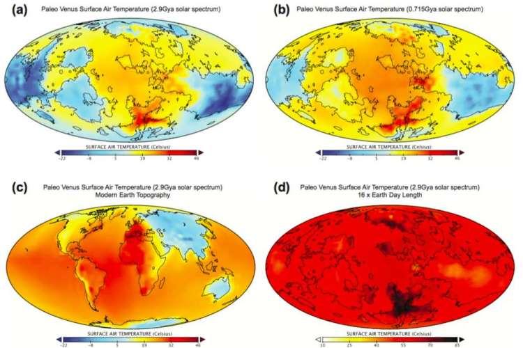 Vier simulaties: vier heel verschillende uitkomsten. Afbeelding: Geophysical Research Letters.