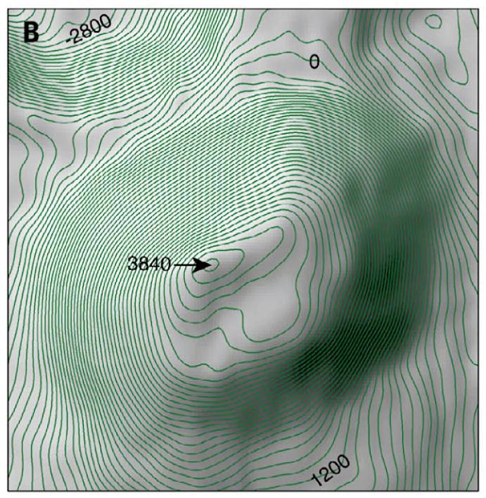 De grote ijsvulkaan Ahuna Mons.