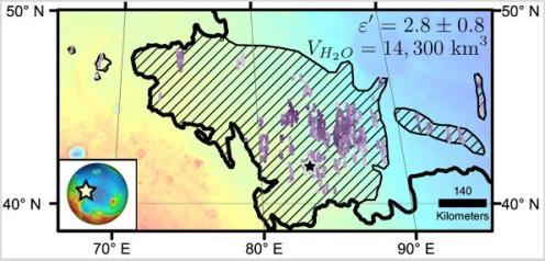 Hier zie je een deel van de Utopia Planitia-regio. De diagonale strepen geven het gebied aan waarin een grote ondergrondse ijsafzetting is aangetroffen. Afbeelding: NASA / JPL-Caltech / Universiteit van Rome / ASI / PSI.