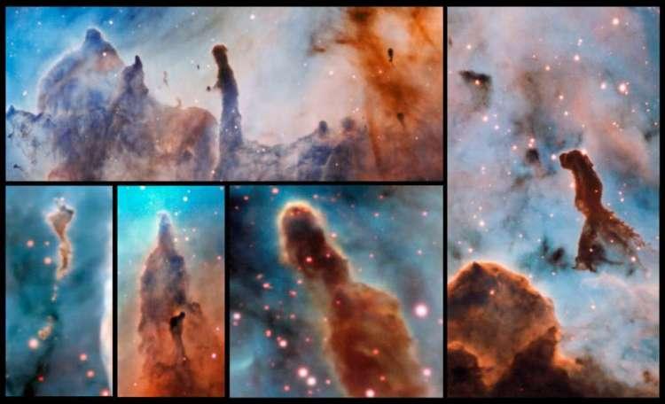 Verschillende zuilen in de Carinanevel. Deze zuilen worden door de zware sterren die eruit voort zijn gekomen, verwoest. Afbeelding: ESO / A. McLeod.