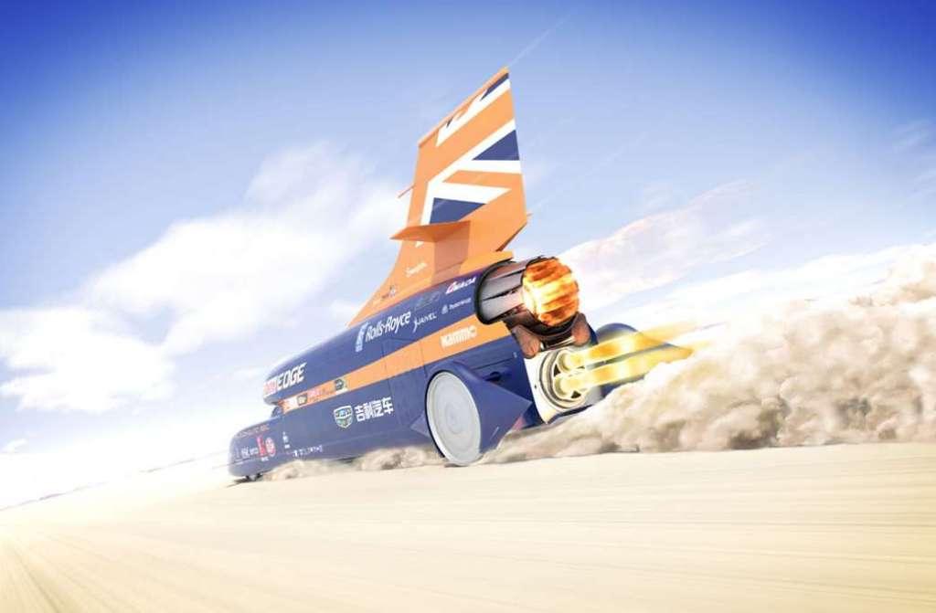 Snelste auto ter wereld start voor het eerst zijn straalmotor