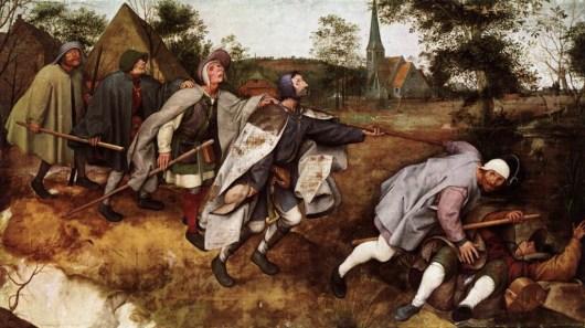 La comunicazione scientifica come non andrebbe fatta. (La parabola del cieco che guida altri ciechi, Pieter Bruegel il Vecchio, 1568, immagine di wikimedia)