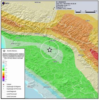 Figura 5: Mappa della pericolosità sismica dell'area epicentrale (Fonte INGV)