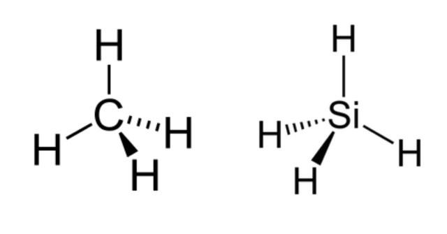 Metano (CH4) e silano (SiH4) messi a confronto. Nonostante la struttura simile, la lunghezza di legame nel silano è all'incirca il 40% più lunga quella del metano, conferendogli una minore stabilità di legame.