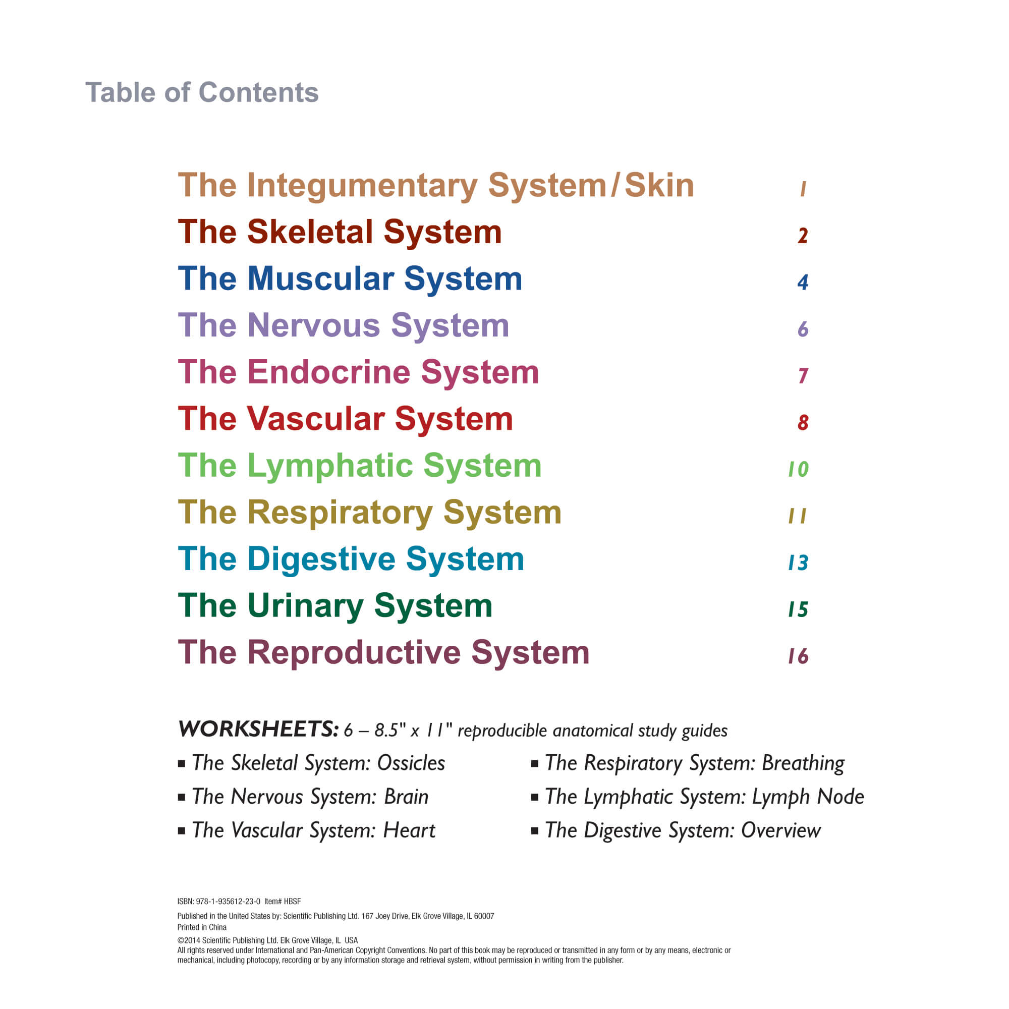 Systems Of The Human Body Flip Chart Scientific Publishing