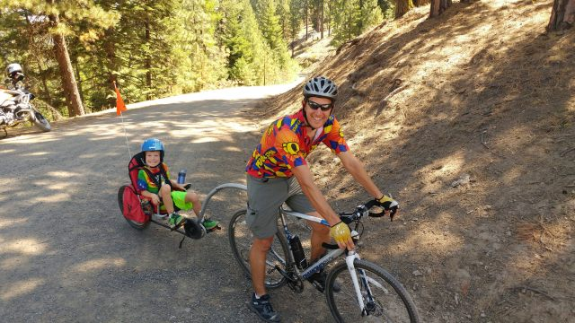 Out with my son on a 50-mile bike race through central Oregon.