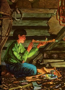 The book, Paddle-to-the-Sea, follows the journey of a little wooden indian in a canoe, fashioned by an Indian boy who wants his creation to go on the adventures he couldn't take, and paddle all the way through the Great Lakes to the ocean.