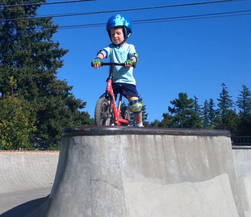 My wife took my son out to the skate park, to see just how far he could take the bike skills daddys attempted to impart.