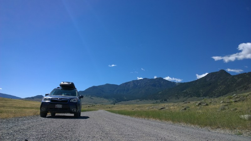 Our trusty Subaru Forester XT, loaded up for the trip, pictured here just north of Yellowstone National Park.