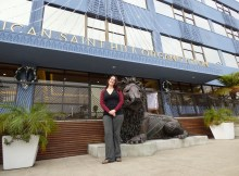 Kathryn in front of the American Saint Hill Organization - a Scientology Church in Los Angeles