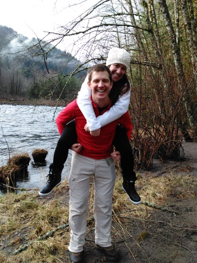 My sister and I last Christmas, up at a riverside cabin near Mount Hood.