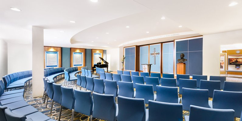 The chapel in the Salt Lake City Church of Scientology, used both for religious services like weddings and Sunday Services, but also for interfaith meetings and community events.
