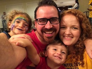Scientology disaster volunteer Kirstie with her husband and two kids