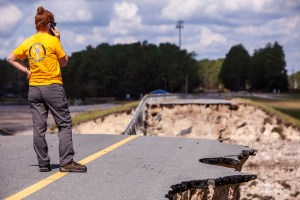 Surveying a Hurricane-Damaged Roadway
