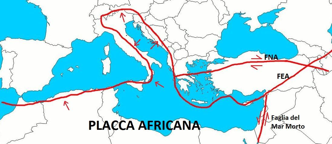 Risultati immagini per movimento placca nord africa placca adriatica