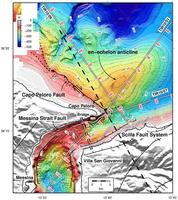 Morfo-strutturale mappa dello Stretto di Messina, con la posizione della scarpata del guasto Capo Peloro, della tenda sullo Stretto di Messina guasto (linea tratteggiata nera), e del sistema di faglie Scilla.