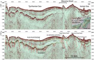 Risoluzioni elevate pre-stack in tempo la migrazione profilo sismico riflessione TIR10/01 (in alto: non interpretato, in basso: interpretato).