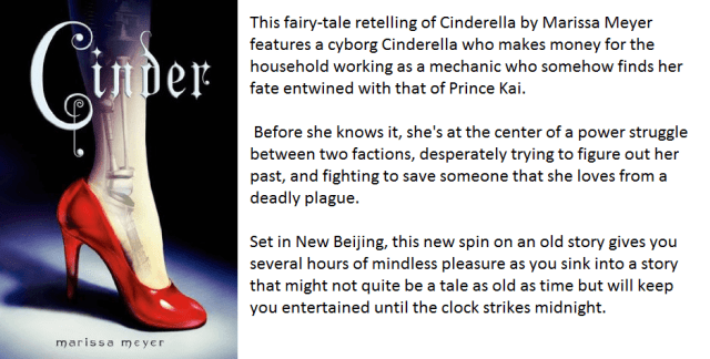 Book Cover and Synopsis for Cinder by Marissa Meyer