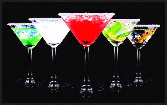 alcohol cocktail set on a black. Berry cooler cocktail, martini, mojito, Pina Colada