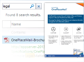 Search, preview and access SharePoint