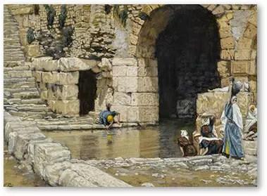 The Blind Man Washes in the Pool of Siloam (Le aveugle-né se lave à la piscine de Siloë) Source: Wikimedia Artist: James Tissot (1836–1902)