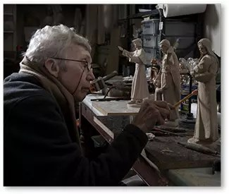 Sr. Margaret working on sculptures
