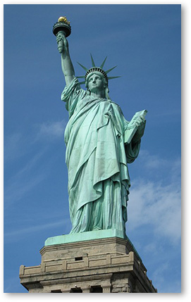 Statue of Liberty welcomes immigrants.
