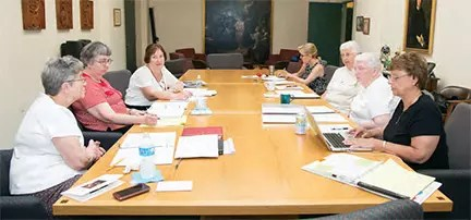 The 2015 Assembly Steering Committee has been meeting since June 22, 2014. Left side from left: Sisters Jane Iannucelli, Margaret O'Brien, and Mary Ellen McGovern. Right side from right: Sr. Kathleen McCluskey, CSJ, Assembly Facilitator, Sisters Elizabeth Vermaelen and Elaine Owens, and Anne Gray, Steering Committee Secretary.