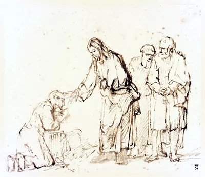 Jesus heals the leper by Rembrandt.