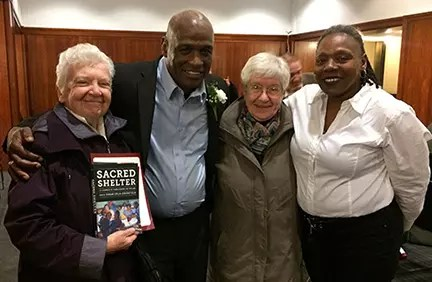 From left: Sr. Mary Mc Cormick, James Addison, Sr. Charlotte Raftery, and James' sister, Angela at the Sacred Shelter book launching event