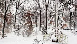 Sisters of Charity Cross by Margaret Beaudette, SC, in the snow, Mount Saint Vincent