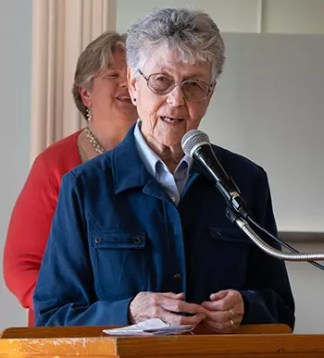 Sister Margaret Egan addresses those gathered for her farewell party.