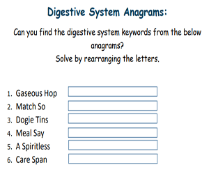 Crossword Digestive System | printable sticker pdf