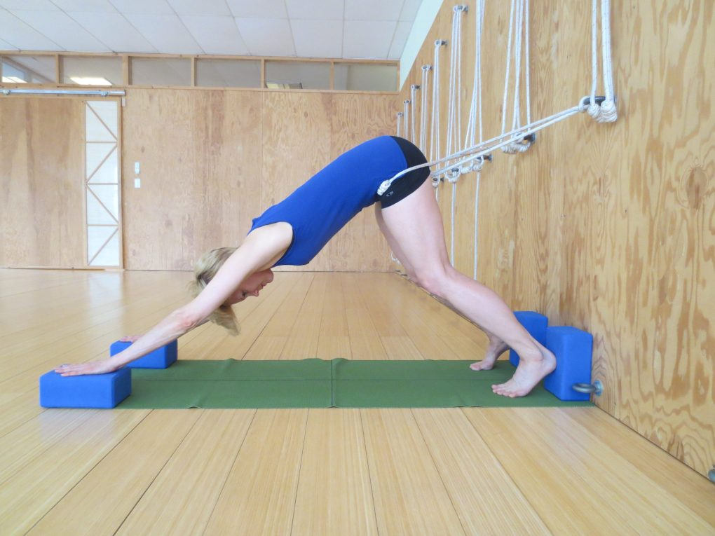 Woman with scoliosis and spinal fusion practicing downward facing dog using the Iyengar rope wall