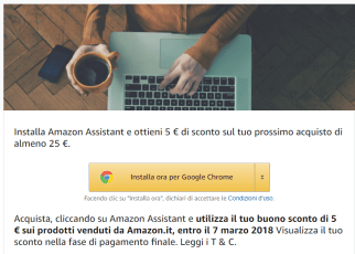 amazon assistant buono sconto 5 euro