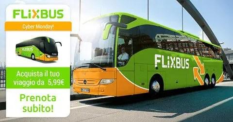 FLIXBUS SPECIALE CYBER MONDAY: Solo oggi viaggi in tutta Italia ed Europa da soli 5,99€ a tratta