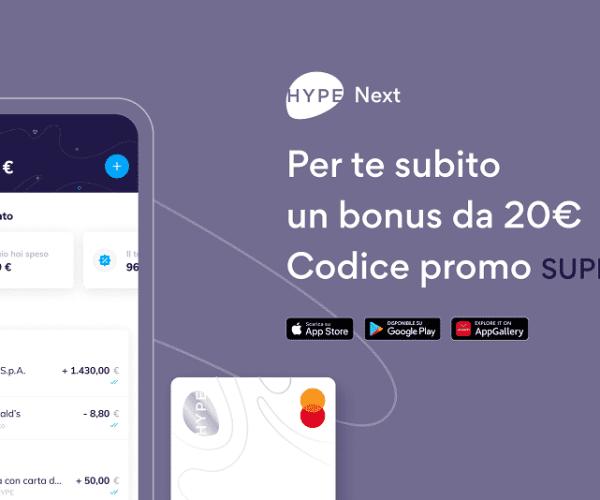La nuova carta Hype Next ti regala 20€ in buoni Amazon