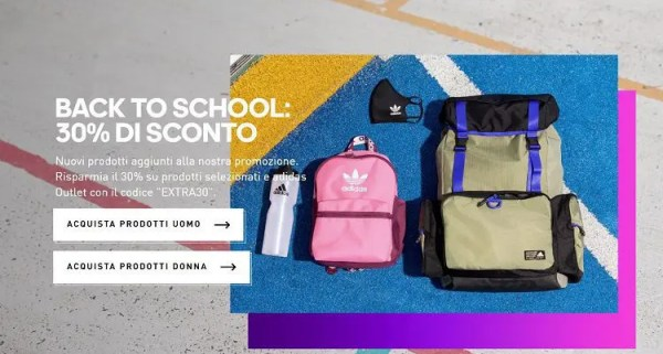 Codice sconto 30% Adidas Back To School