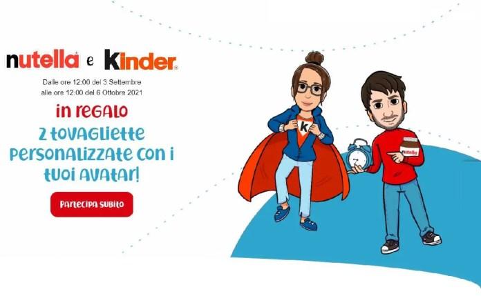 Con Nutella & Kinder ricevi 2 tovagliette da colazione personalizzabili con il tuo avatar