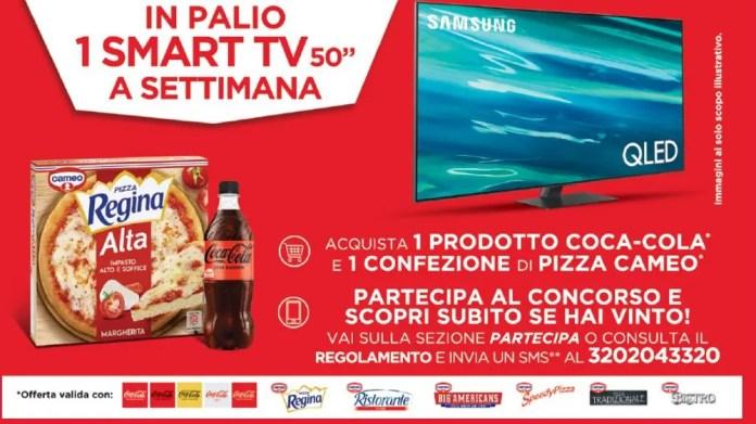 """""""Con pizza cameo e Coca-Cola accendi la serata"""" e vinci TV Samsung QLed50″ 4K"""