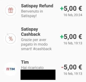 Satispay promozione cashback ricarica + benvenuto
